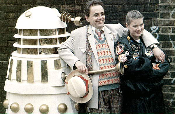 Sylv and Sophie pose with a Dalek.